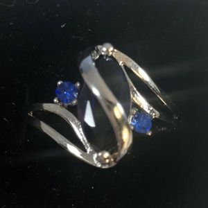 sterling size 10 Blue Glass Stone Ring